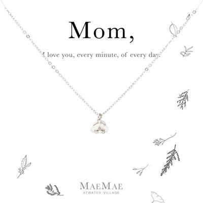 Sterling Silver Cubic Zirconia Flower Drop Necklace for Moms - MaeMae Jewelry