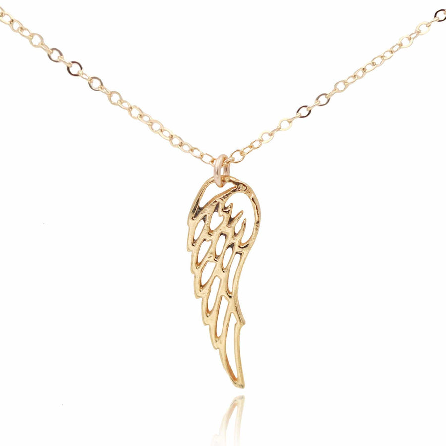 14k Gold filled cable chain necklace with vermeil angel wing pendant on affirmation card - MaeMae Jewelry