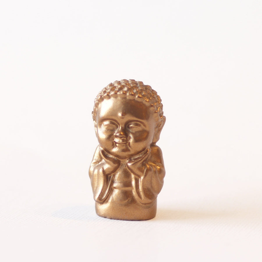"1.5"" Baby Buddha figurine in gold"