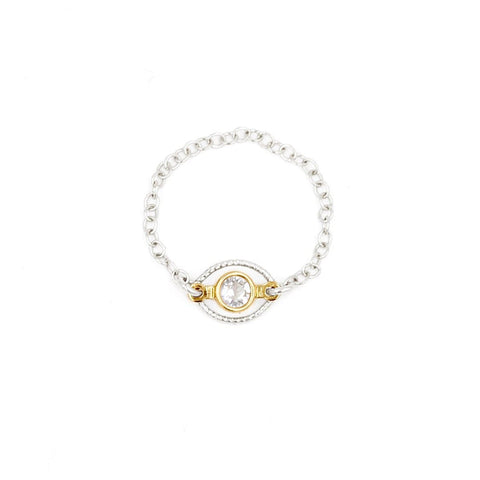 Sterling silver chain ring with gold vermeil center with clear swarovski crystal - MaeMae Jewelry