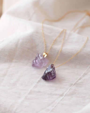 Raw Amethyst Long Necklace