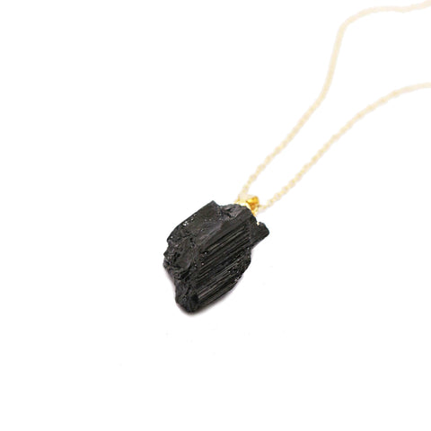 Raw Black Tourmaline Long Necklace