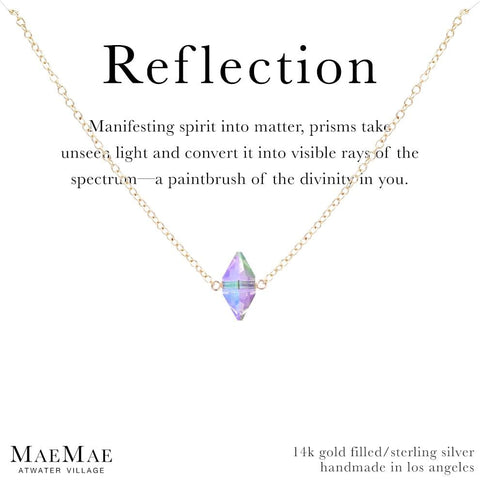 Reflection Necklace | Prism Swarovski Crystal | Affirmation Jewelry | 14k Gold Filled and Sterling Silver Necklaces
