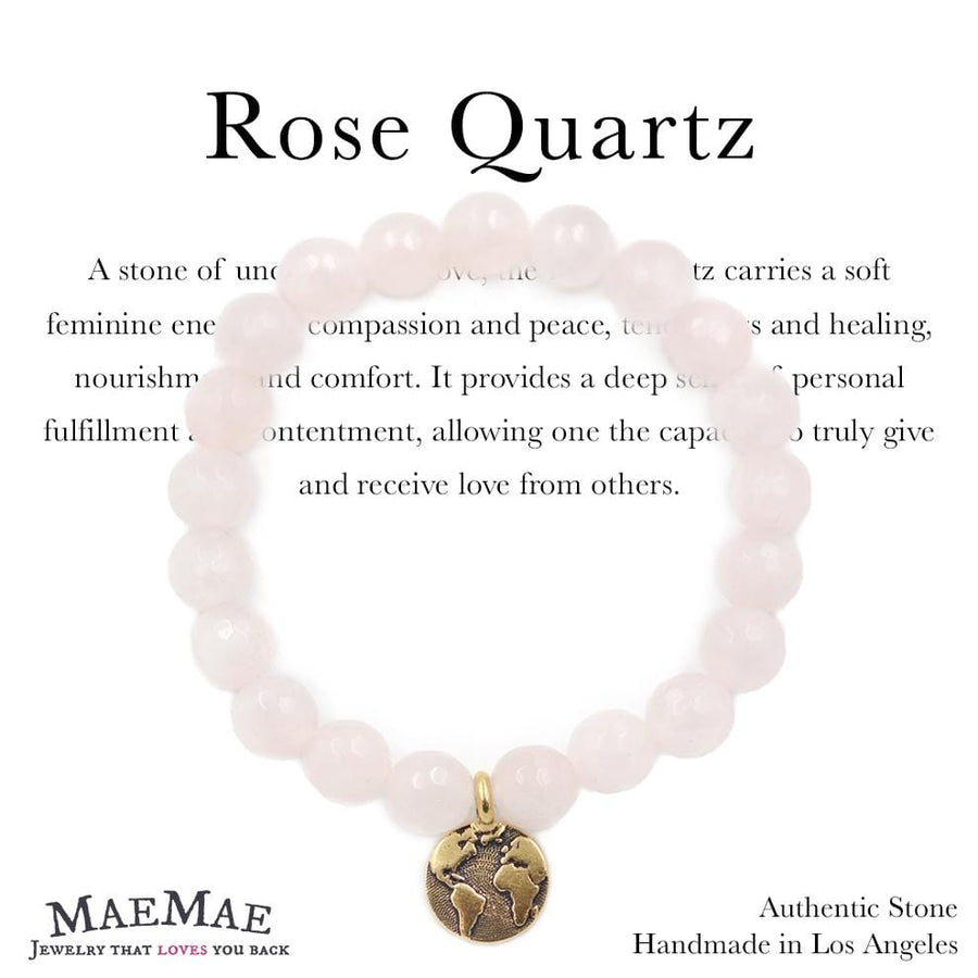 Stretchy Rose Quartz Stone Bracelet with Silver Tree of Life Charm