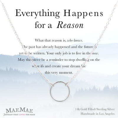 Sterling Silver everything happens for a reason necklace pick me up affirmation jewelry