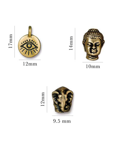 Evil eye charm , buddha head charm, and elephant charm in Gold Pewter sized - MaeMae Jewelry