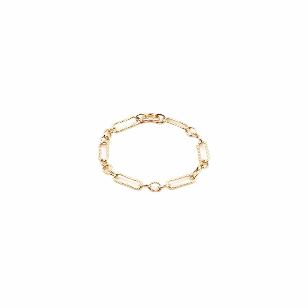Close up photo of 14k gold filled chain ring in fancy link