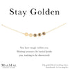14k gold filled cable chain bracelet with 5 golden discs on positive affirmation card - MaeMae Jewelry