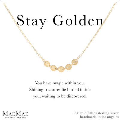 14k Gold Filled Necklace | Stay Golden Necklace | Disc chain necklace