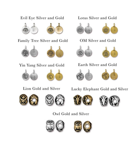 Gold and Silver pewter charms - MaeMae Jewelry