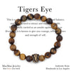 Tiger Eye Stone Beaded Stretch Bracelet with Tiger eye Affirmation Card