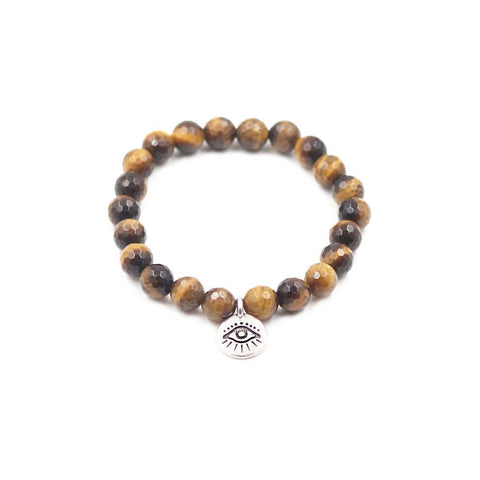 Stretchy Tigers Eye Stone Bracelet with Silver Pewter Evil Eye Charm