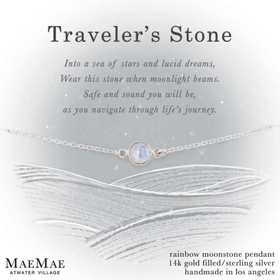 Moonstone Traveler's Stone Silver Bracelet on Display Affirmation Card