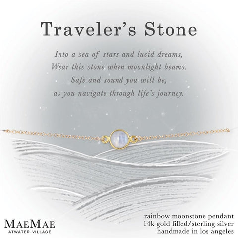 Moonstone Traveler's Stone Gold Bracelet on Display Affirmation Card
