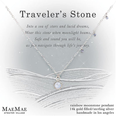 Moonstone Traveler's Stone Silver Necklace on Display Affirmation Card