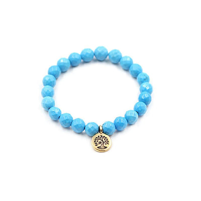 Stretchy Turquoise stone Bracelet with Gold Tree of Life Charm