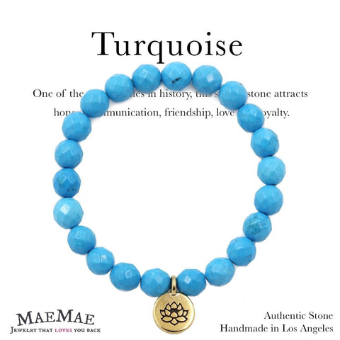 Stretchy Turquoise Stone Bracelet with Gold Pewter Lotus Charm on affirmation card