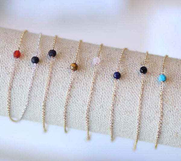 Dainty Stone Bracelets in Gold / Silver on Display Mixed Colors/stones - MaeMae Jewelry