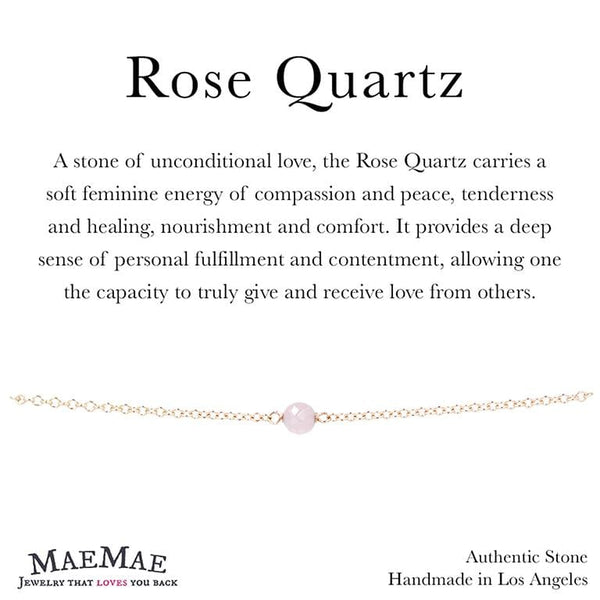 Dainty Stone Bracelet in Gold on Affirmation card - MaeMae Jewelry - Rose Quartz