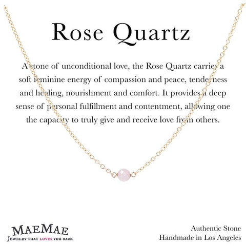 "Rose Quartz Stone Necklace Dainty 14""-16"" in Gold on Affirmation card - MaeMae Jewelry"
