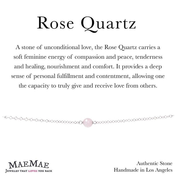 Dainty Stone Bracelet in Sterling Silver on Affirmation card - MaeMae Jewelry - Rose Quartz