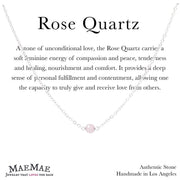 "Rose Quartz Stone Necklace Dainty 14""-16"" in Sterling Silver on Affirmation card - MaeMae Jewelry"