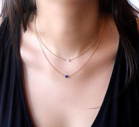 "1st necklace sits at 14"" and 2nd one sits at 16"" = model has a 13"" neck"