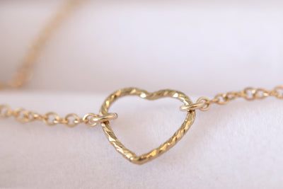 Bridesmaid's Golden, Open Heart Bracelet
