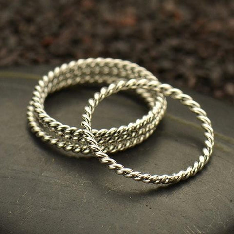 Twisted Sterling Silver Band
