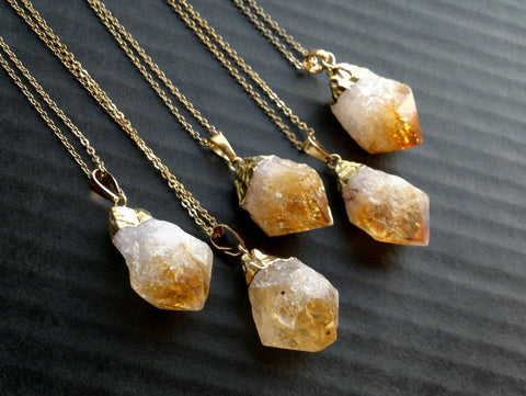Raw Citrine Quartz Long Necklace