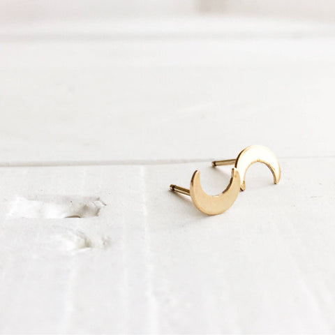 Tiny Crescent Moon Stud Earrings