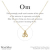14k gold filled chain necklace with gold over pewter om charm on positive affirmation card - MaeMae Jewelry