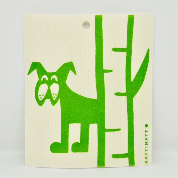 Dog Behind Birch Tree Dishcloth