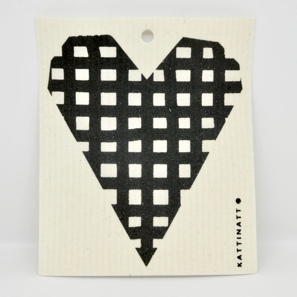 Hearts Checkered Dishcloth