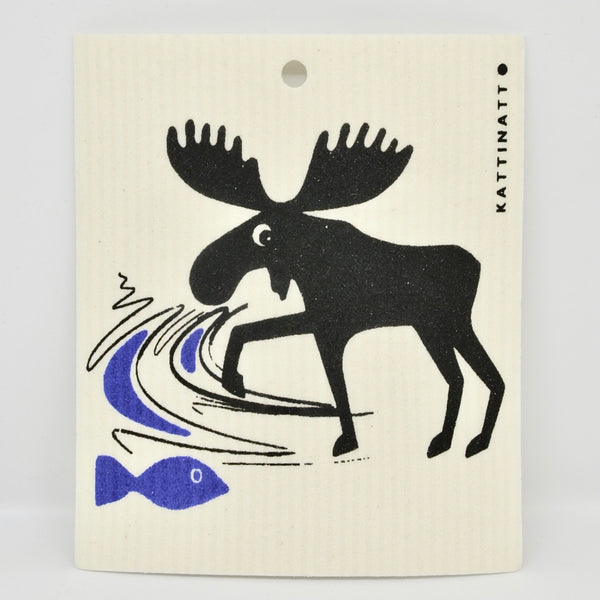 Moose Catches Fish Dishcloth
