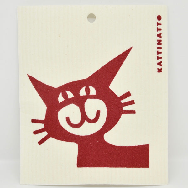 Cat Head, Red Dishcloth