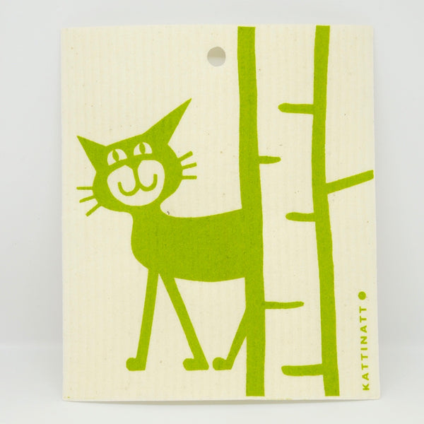 Cat Behind Birch Tree Dishcloth