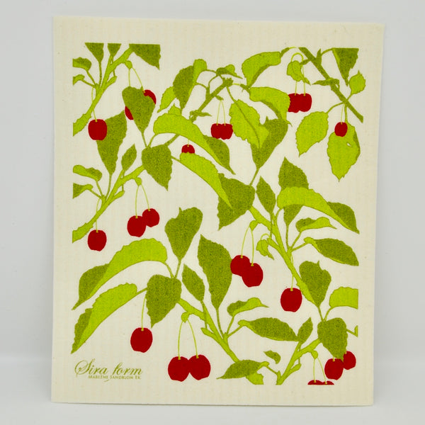 Green & Red Cherries Dishcloth