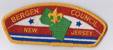 Bergen Council New Jersey Stained Yellow Border Cloth Backing FDL CSP ## CSP159