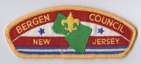 Bergen Council New Jersey Sewn/Washed Yellow Border Plastic Backing FDL CSP ## CSP160
