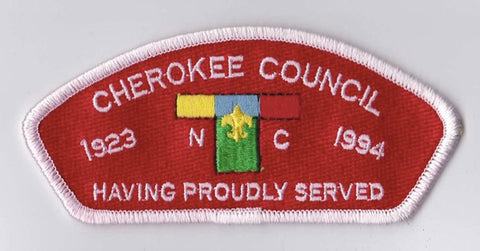 Cherokee Council North Carolina White Border Plastic Backing FDL CSP ## CSP299