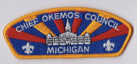 Chief Okemos Council Michigan Yellow Border Dark Plastic Backing FDL CSP ## CSP331