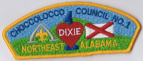 Choccolocco Council Alabama Yellow Border Plastic Backing FDL CSP ## CSP341
