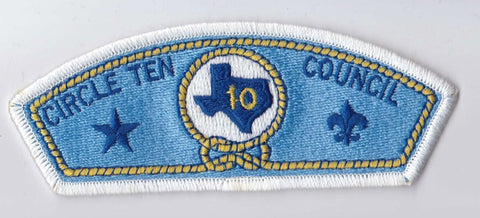 Circle Ten Council Texas White Border Plastic Backing FDL CSP ## CSP345
