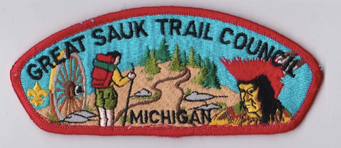 Great Sauk Trail Council MI Sewn Red Border Plastic Backing FDL CSP ## CSP610