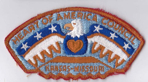 Heart of America Council KS & MO Cut-Edge Red Border Sewn & Washed Plastic Backing Pre-FDL CSP ## CSP659
