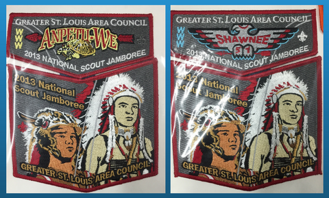 2013 National Jamboree 51 Shawnee / 100 Anpetu-We Pair of 2piece OA Flap Sets Greater St. Louis Area Council  [JAMBO]