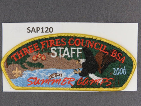 Three Fires Council CSP 2006 Survivor Camps Yellow Border - Scout Patch HQ