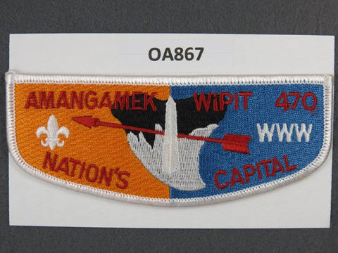 OA Lodge # 470 Amangamek-Wipit Blue And Yellow White Border National Capital Area   Flap [OA867]**