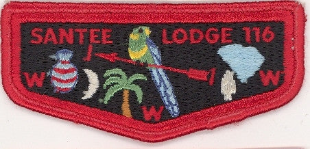 #116 Santee Lodge Flap S3 Spread W Brotherhood 1975-1978 Issue - Scout Patch HQ